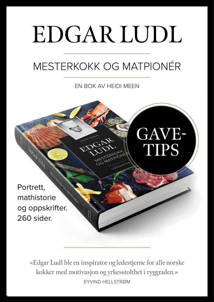 Reklameplakat for boken Edgar Ludl - Mesterkokk og matpioner som gavetips