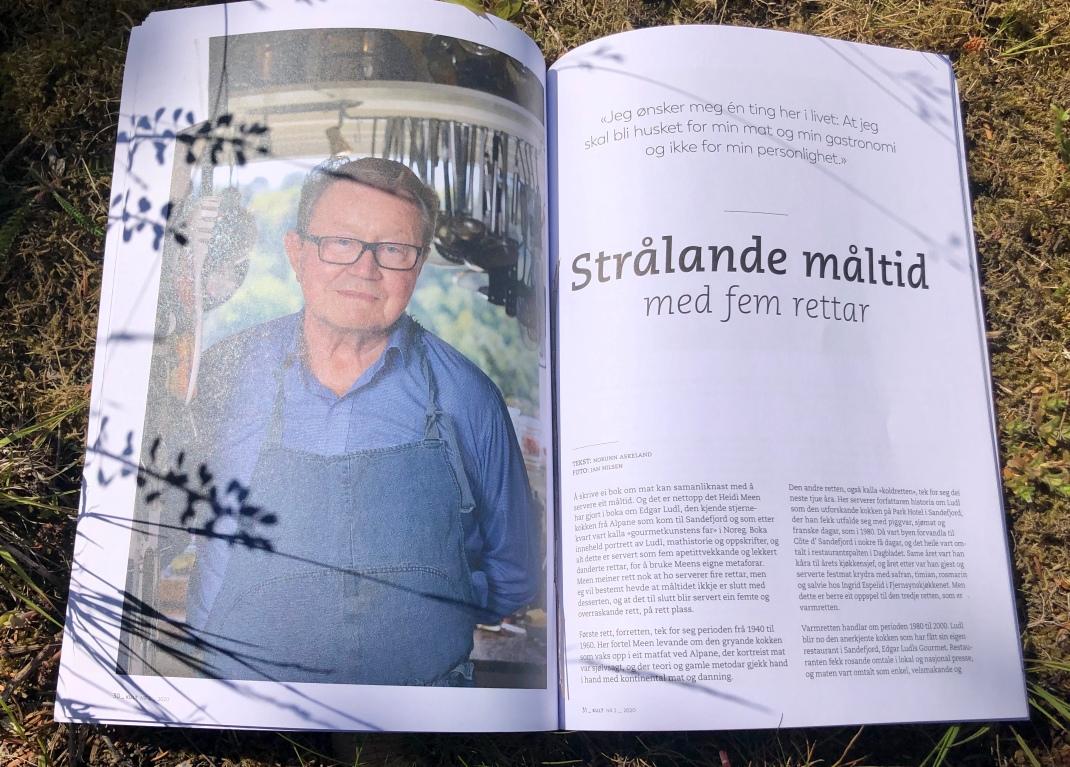 Oppslag i et blad med bilde av Edgar Ludl på den ene siden og tekst på den andre